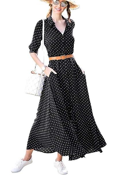 da9b7e4bcee Vansha Women s Casual Polka Dot A-line Roll Up Long Sleeve Button Up Flowy  Maxi