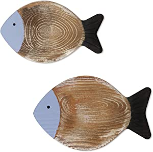 2 Pieces Wood Fish Decor Ornament Hanging Wooden Fish Decoration Hand Carved Wooden Fish Wall Art for Home Indoor Outdoor Patio Porch Office Nautical Wall Theme Decoration (Blue)