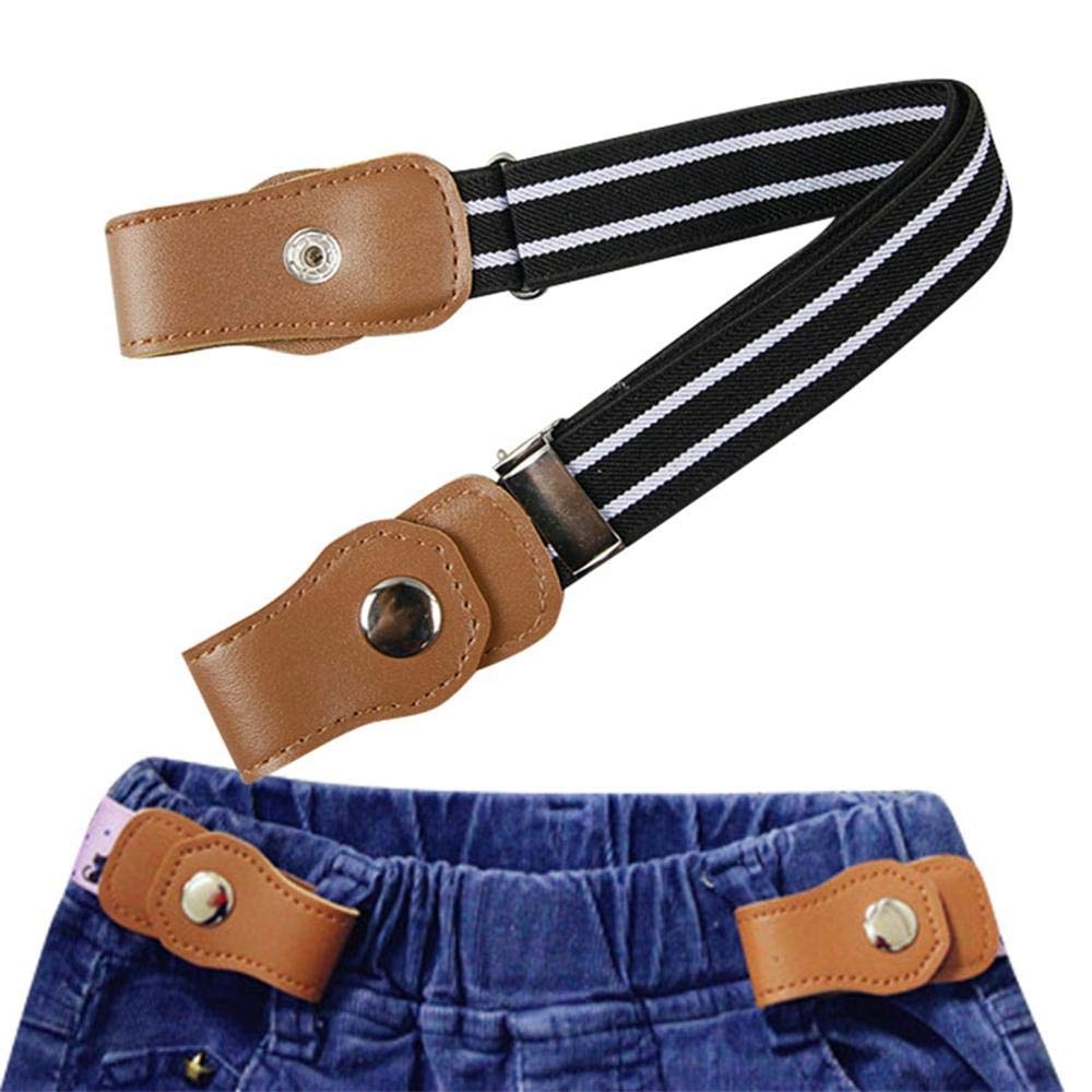 No Buckle Buckle-Free Elastic Kids Belts for Toddler Boys Girls, KOBWA Stretch Belts,Adjustable Invisible Waist Strap Without Buckle for Cowboy Jeans Pants/Dresses,24', Multi-Colored,Black,White,Red 24