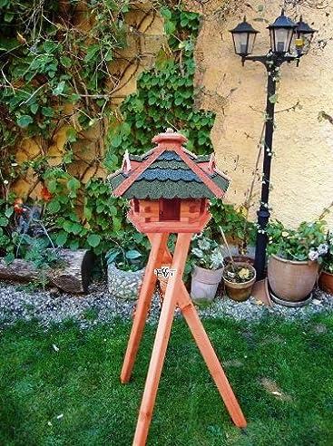 Futterstation Vogel - Vogelhaus aus Holz - groß mit Futterschacht zum Nachfüllen - + 3 Gauben als Fettspender-Dach-