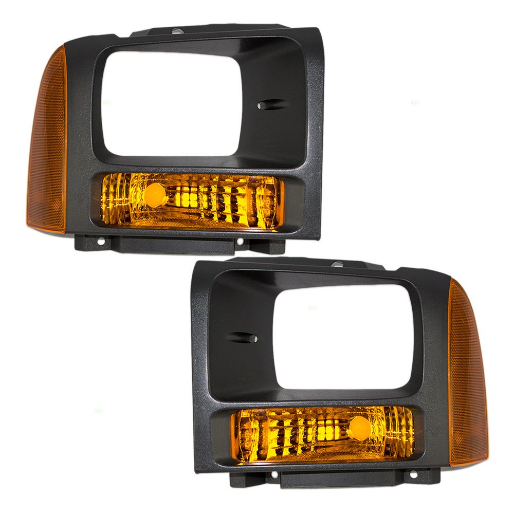 Driver and Passenger Park Signal Front Marker Lights with Black Bezels Replacement for Ford Pickup Truck 6C3Z 13201 AAA 6C3Z 13200 AAA