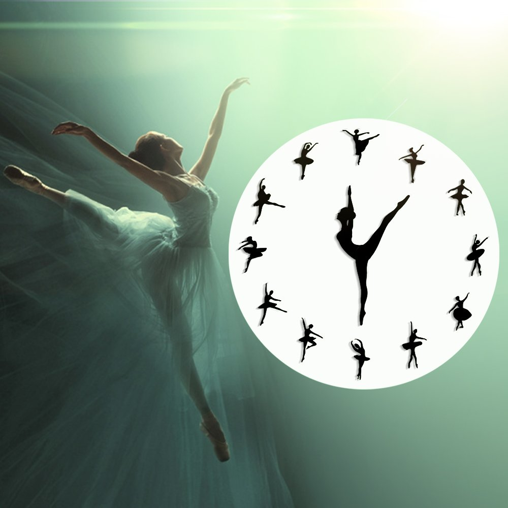 The Geeky Days Classical Dance Charming Ballerina Wall Clock Baby Girl Nursery Decor Ballet Dancer Modern Wall Clock Ballet Dancing Girl Needle Hand Wall Watch