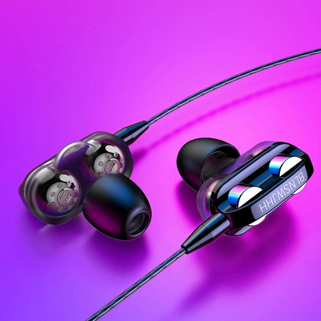 Fandazzie In-ear Double-acting Double Speaker Wired Earphone with Microphone Headsets