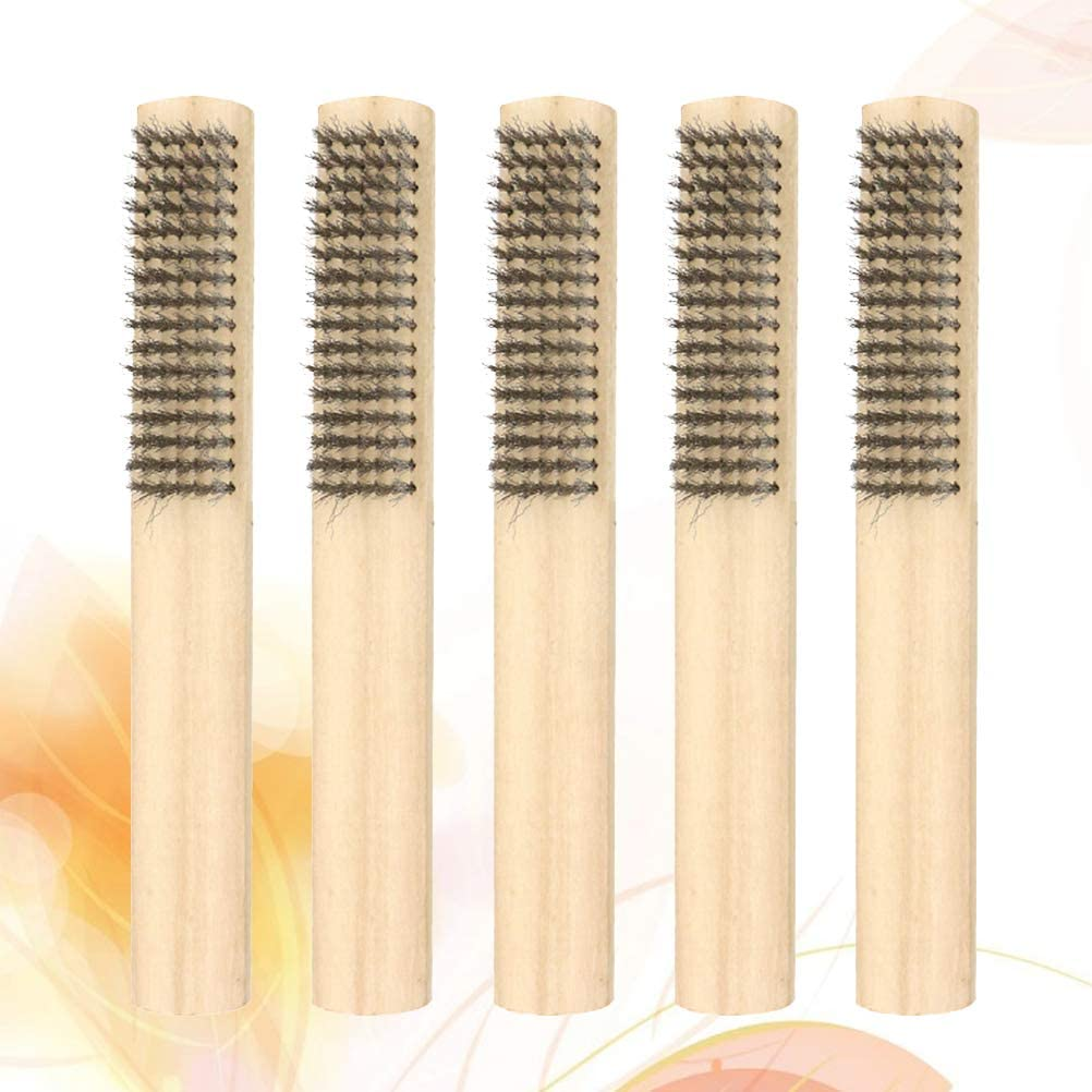 SUPVOX 5pcs Wire Brush Handle Stainless Steel Metal Wire Scratch Brush for Cleaning Welding Slag and Rust Automotive