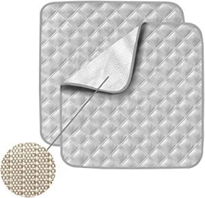 Non-Slip Absorbent Washable Incontinence Pad underpad Seat 4-Layer Design Chair Absorbent Pads Protection - for Seniors, Adult, Children, or Pet Underpad Protection - Set of 2 (Grey)