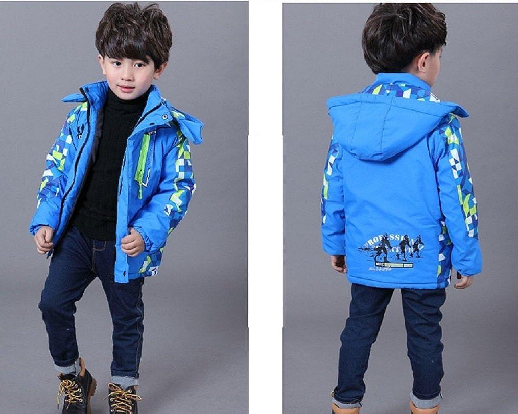 Bakerdani Kids Waterproof Windproof Jacket Outdoor Sports Removable Hooded Coat