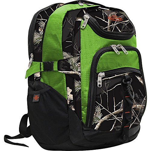 RealTree 3 Section Laptop Back Pack (AP Black/ Lime) (Mobile Mouse Ibm)