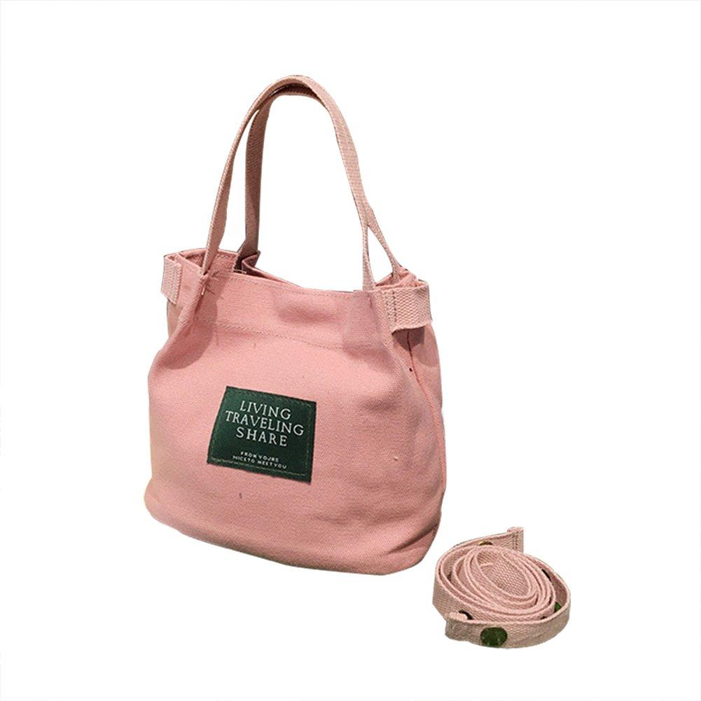 Emorias 1pcs seule épaule Sac à main Toile Sac cabas Toile naturelle pour l'école Shopping de voyage (Rose)