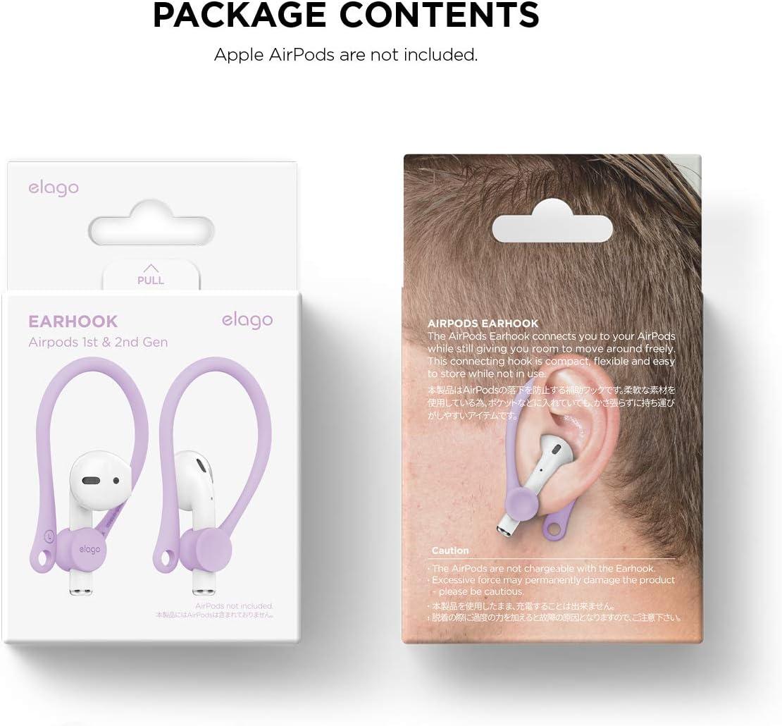 TPU di alta qualit/à Disegnato per Lattivit/à - Rosa chiaro elago EarHooks Ganci Orecchie in Silicone Compatibile con Apple AirPods 1 /& 2 - Supporto Forte Foro per Cinghia