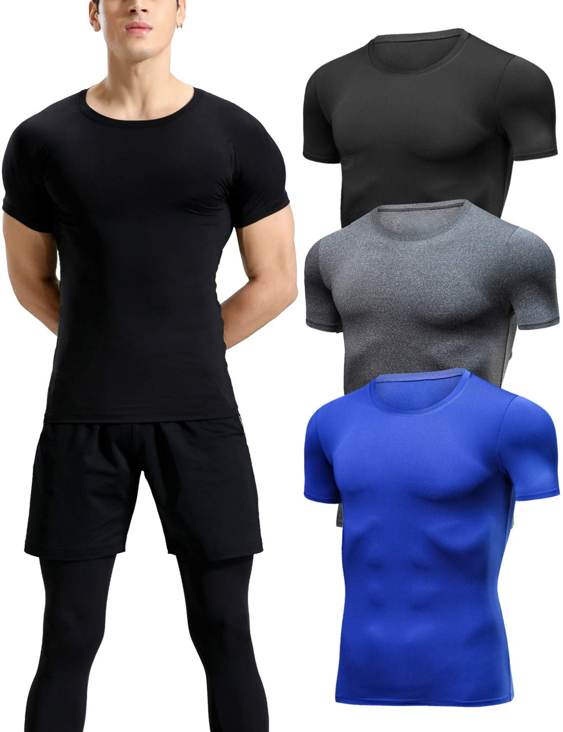 Lavento Men's Compression Shirts Cool Dry Short-Sleeve Workout Undershirts (3 Pack-Crew Neck Black/Heather Gray/Blue,Large) by Lavento
