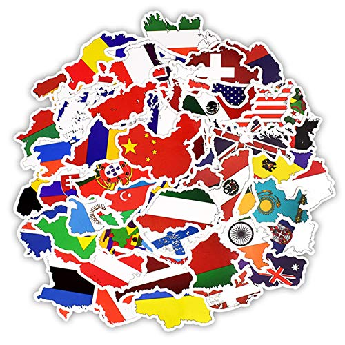 50 Pcs National Flags Stickers Countries Map Travel Sticker to DIY Scrapbooking Suitcase Laptop Car Motorcycle