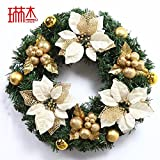Christmas Garland for Stairs fireplaces Christmas Garland Decoration Xmas Festive Wreath Garland with Christmas wreath Golden Christmas,45cm