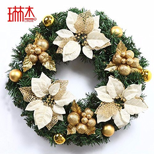 Christmas Garland for Stairs fireplaces Christmas Garland Decoration Xmas Festive Wreath Garland with Christmas wreath Golden Christmas,45cm by Caribou Furniture And Decor