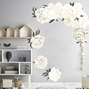 Flowers Wall Decals Peony Wall Stickers Elegant Blossom Rose Wall Posters, Blossom White Flower Wallpaper Removable Wall Decor for Bedroom Living Room