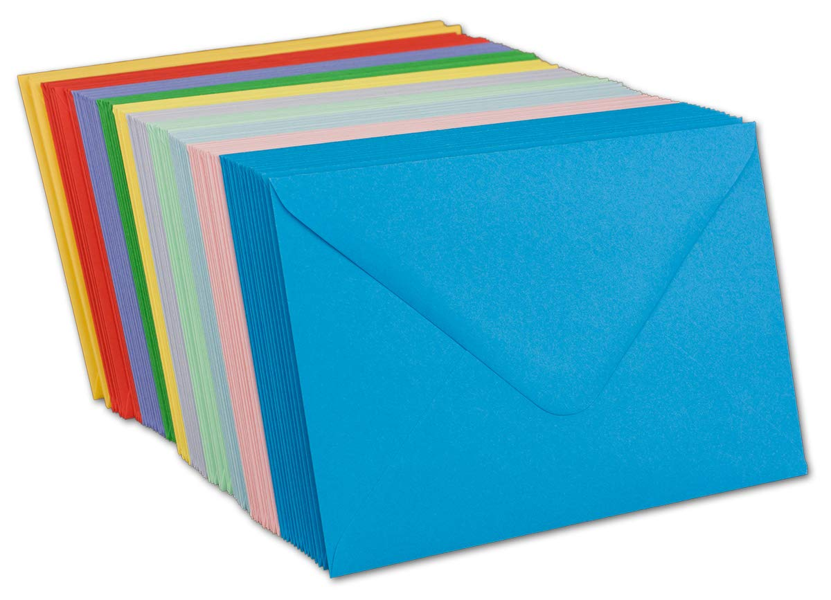 Gl/üxx-Agent 50 Quadratisch Briefumschl/äge UmschlagPakete Farbenmix 15,5 x 15,5 cm 100 g//m/² Nassklebung spitze Klappe Serie Colours-4-you