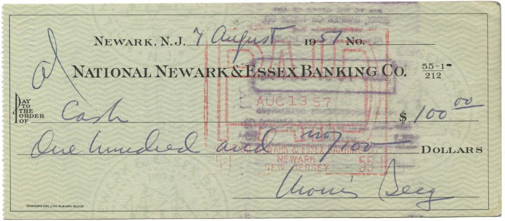 The Catcher Was A Spy A Twice Signed Moe Berg Personal Check