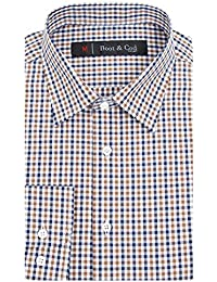 Mens Patterned Fitted Long Sleeve Button Down Dress Shirt