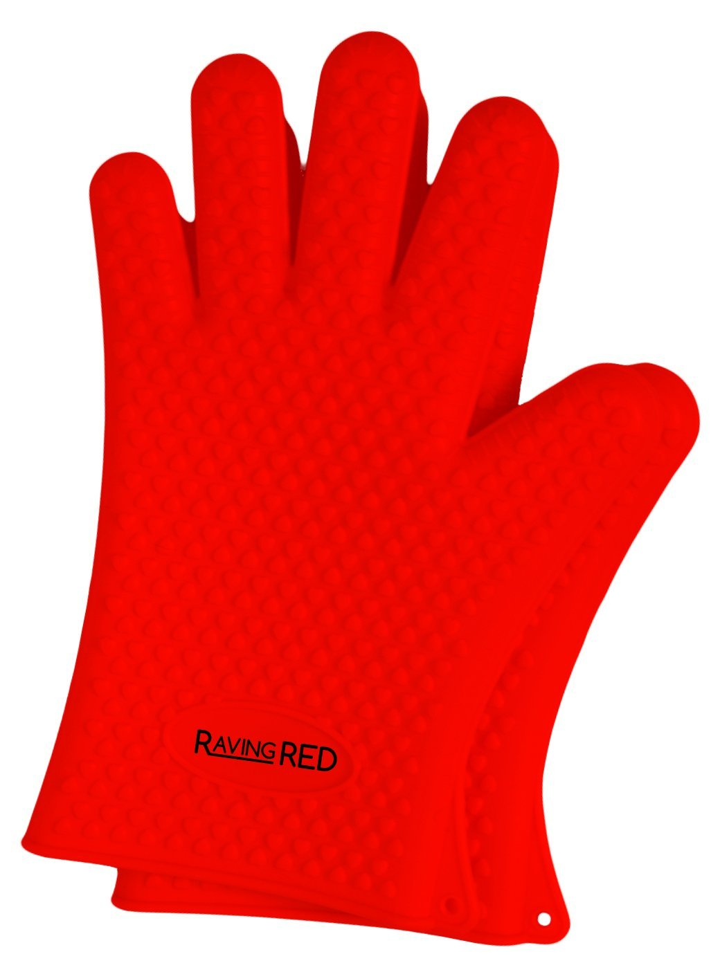 Raving Red Ultimate Protective Heat Resistant & Waterproof Silicone BBQ Grill Gloves