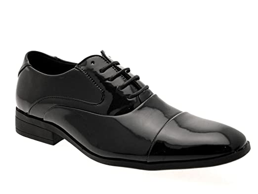 f27923aa8ed MENS SMART OXFORD LACE UPS LOAFERS MULES FORMAL OFFICE WORK WEDDING SHOES  BLACK PATENT SIZE UK