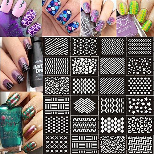 Ejiubas 12 Pcs 24 Different Designs Nail Vinyls Nail Stencil Sheets Easy Nail Art Nail Guides Nail Stickers Set