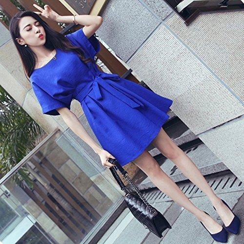 MiGMV?Femmes Robes Robe  Manches Courtes en t Une Jupe Taille Haute Enfants,S,Blue