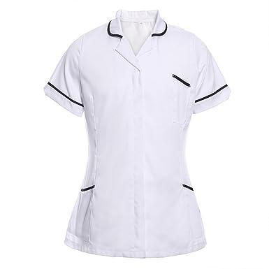 a666ab2804613 Nurses Tunic Uniform Vet Beauty Medical Dental Therapist Dentist Healthcare  Hospitality Maid House Work Wear Top