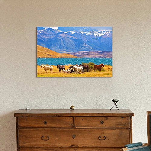 Beautiful Scenery of Thoroughbred Horse Grazing in a Meadow Near The Lake Wall Decor
