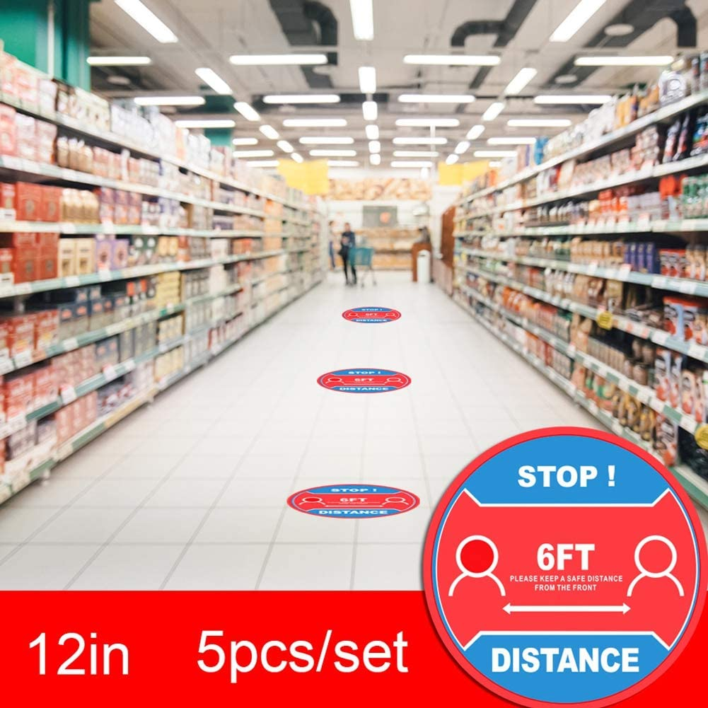 Jazmy Circular Warning Floor Stickers Self-Adhesive Keep Distance Waterproof Stickers for Public Places Supermarkets Hospitals