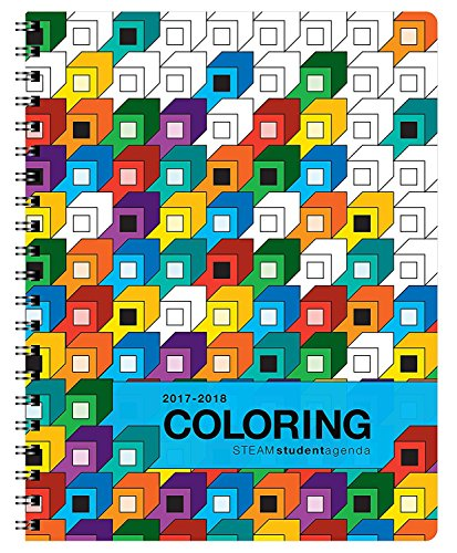 Coloring Academic Agenda (8.5 x 11 inches) August 2017 - July 2018, Weekly & Monthly Organizer, Appointment Schedule, Goals and Notes