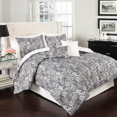 Traditions By Waverly 14413BEDDQUEIVY Paddock Shawl 88-Inch by 88-Inch 6 Piece Queen Set, Ivory - Each set includes one comforter, two coordinating shams, one coordinating bed skirt, and two decorative pillows Comforter, shams and bed skirt are machine washable; spot clean pillows 100% Polyester - comforter-sets, bedroom-sheets-comforters, bedroom - 61B2hrYm2LL. SS400  -
