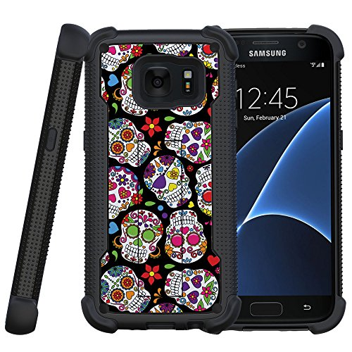MINITURTLE Case Compatible w/ Miniturtle | Samsung Galaxy S7 Case| S7 Cover [Shockwave Armor] Shock Silicone and Hard Shell Case w/ Built in Stand Sugar Skull Design