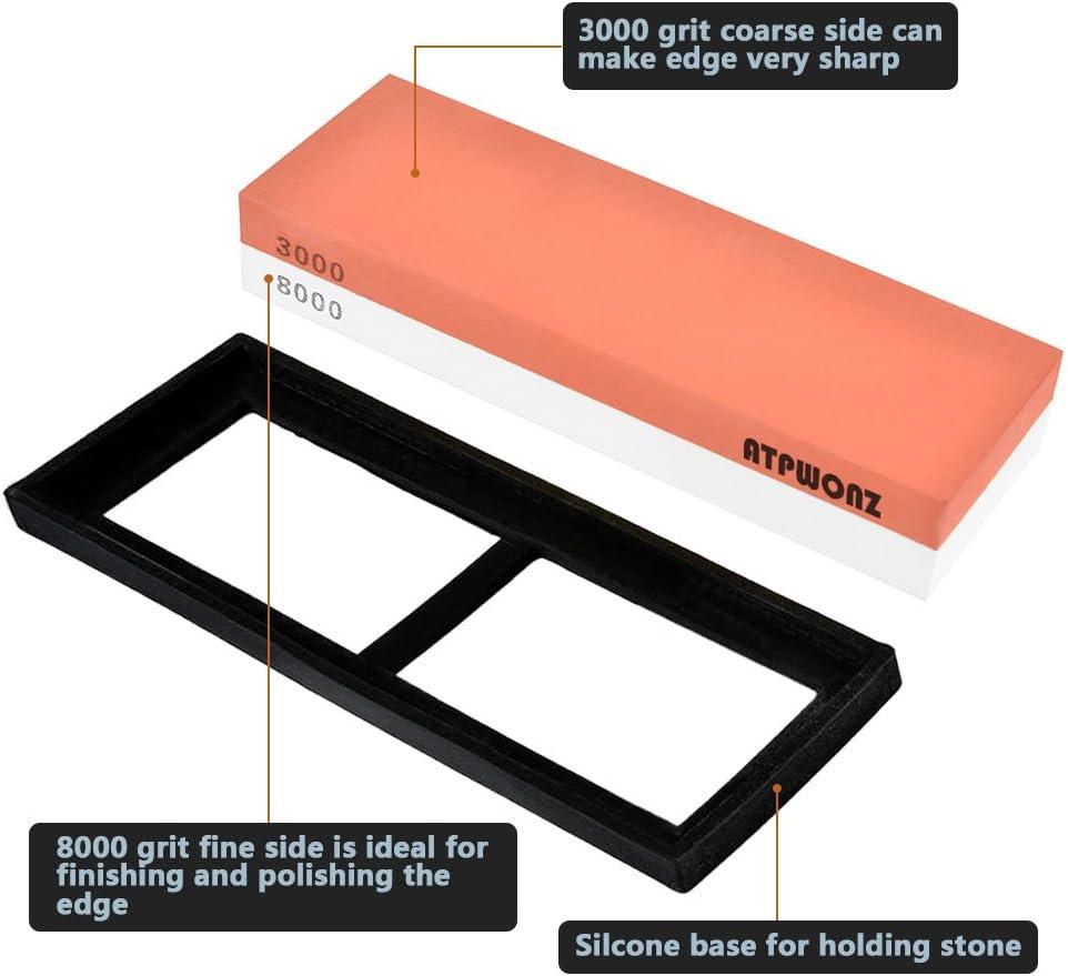 ATPWONZ Pierre /à Aiguiser Corindon Grit 1000//4000 Stone Combinaison Professionnelle pour Laff/ûtage /à Double Face Support Anti-d/érapant en Silicone