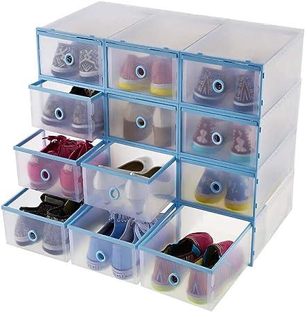 Shoe Box Zapatero_12 Piezas Cajas De Almacenamiento De Zapatos De PláStico Transparente Apilable Plegable Caja De Zapatos Organizador De Almacenamiento Cajon De Entrenador para Mujer/Hombre Azul: Amazon.es: Hogar