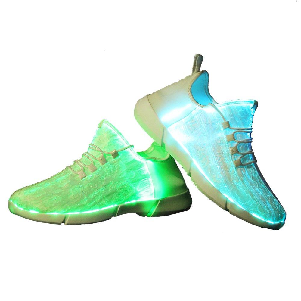 Idea Frames LED Laufschuhe Atmungsaktive Fabric Nacht Sportschuhe 7 Farben Leuchtende Schuhe Damen Herren mit USB Ladegerauml;t  7 UK/EU41|White