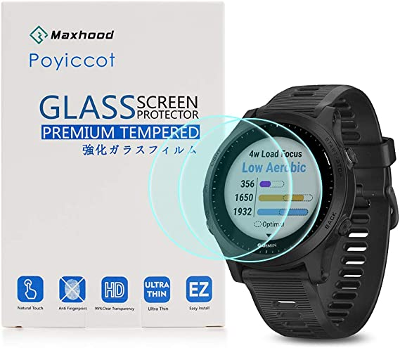 Compatible for Garmin Forerunner 945 Tempered Glass Screen Protector Ultra-Thin 9H Hardness Scratch Resistant Screen Protector Film for Garmin Forerunner 945 2pack Poyiccot