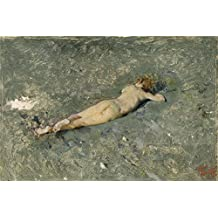 The high quality polyster Canvas of oil painting 'Fortuny Marsal Mariano Nude on the Beach at Portici 1874 ' ,size: 30 x 45 inch / 76 x 115 cm ,this Beautiful Art Decorative Prints on Canvas is fit for Nursery decor and Home artwork and Gifts