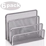 Ybmhome 3 Slot Mesh Letters and Documents Sorter Holder 2372-6 (6, Silver)