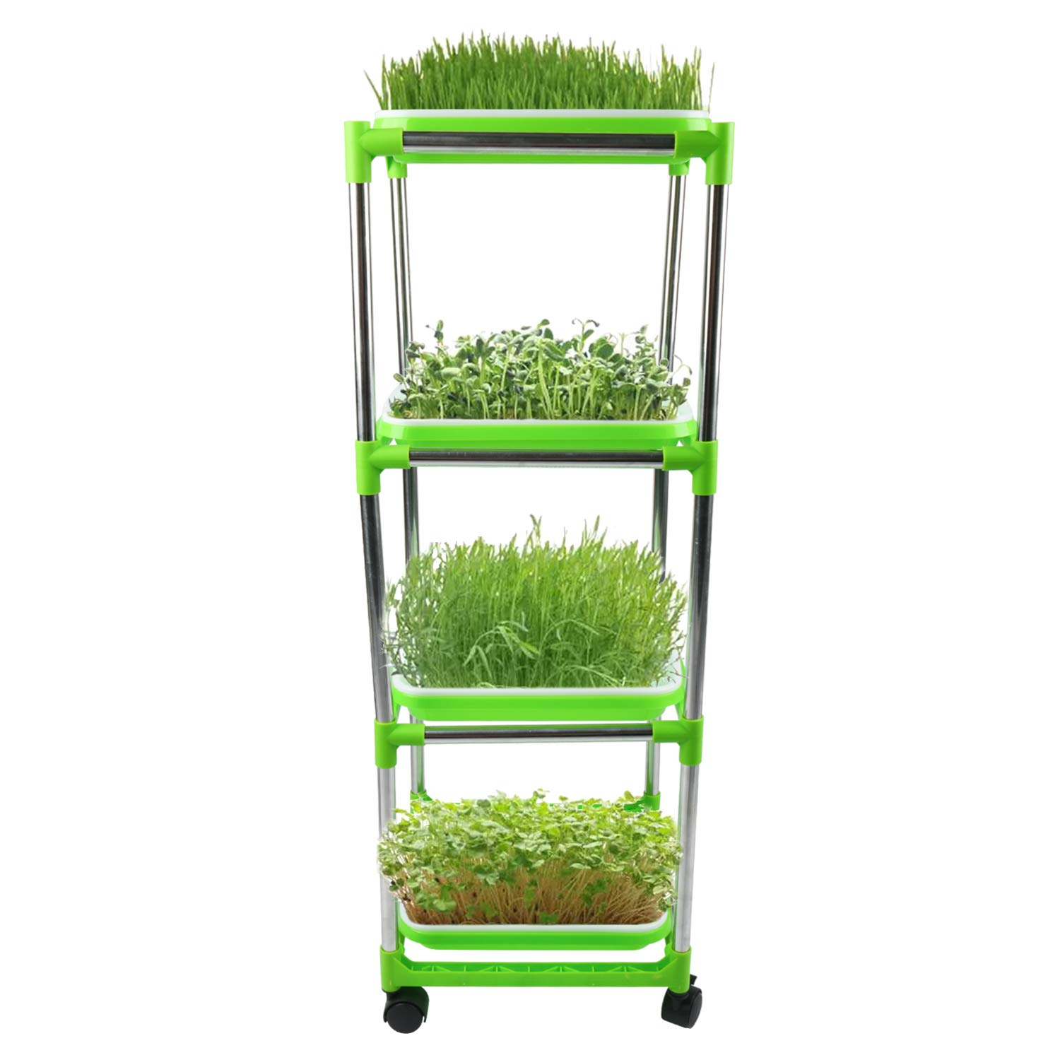 Homend Seed Sprouter Trays with 4 Layers Stainless Steel Shelf Soil-Free Healthy Wheatgrass Seeds Grower & Storage Trays for Garden Home (4 Seed Sprouter Trays with 4 Layers Shelf) by Homend