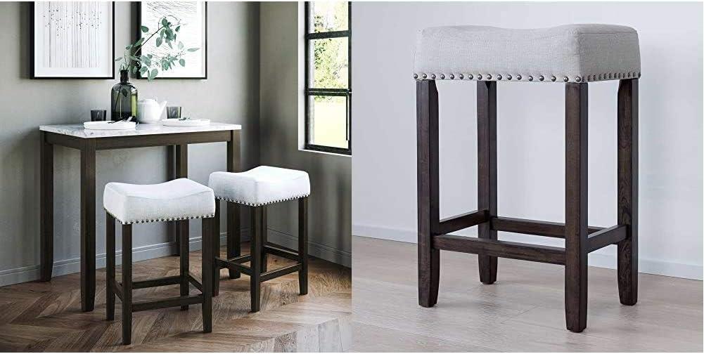 "Nathan James Viktor Kitchen Pub Table Marble Top Fabric Seat Wood Base, Dining Set, Light Gray/Dark Brown & Hylie Nailhead Wood Pub-Height Kitchen Counter Bar Stool 24"", Gray/Dark Brown"