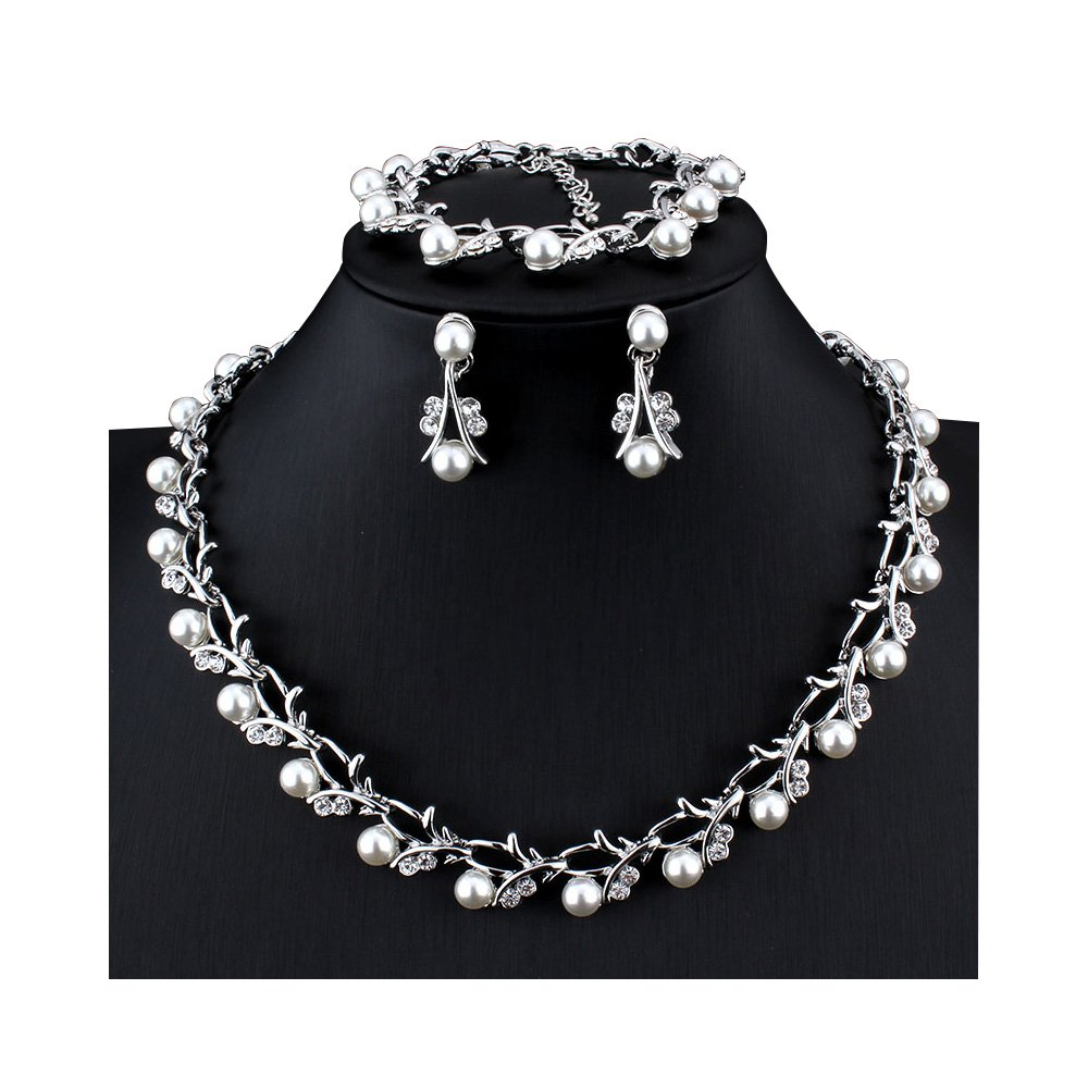 Women's Simulated Pearl Rhinestone Vine Leaf Necklace Earrings Bracelet Set for Party Wedding (Silver)