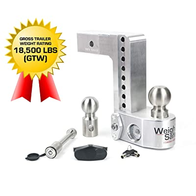"Weigh Safe WS8-2.5-KA 8"" Drop Hitch, 2.5"" Receiver 18,500 LBS GTW - Adjustable Aluminum Trailer Hitch Ball Mount w/Built-in Scale, 2 Stainless Steel Balls, Keyed Alike Key Lock and Receiver Pin: Automotive"