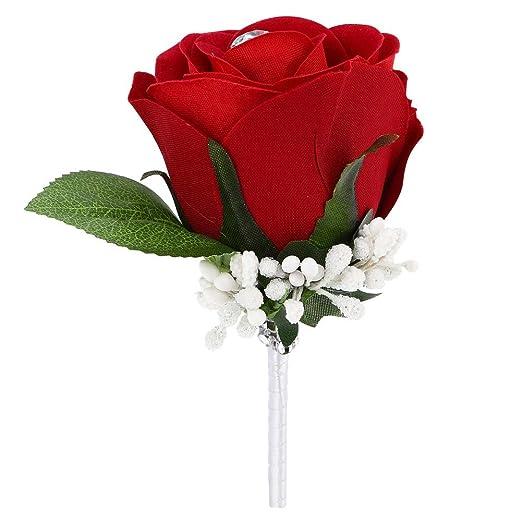 ZTL rosa flores boutonniere ramillete para novio Groomsman ...