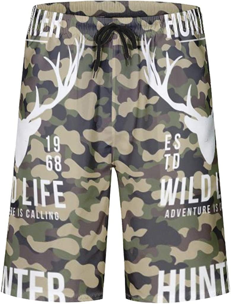 Mens Hawaii Quick Drying Animal Deer Head Camouflage Print Swim Trunks with Pockets with Lining Camo