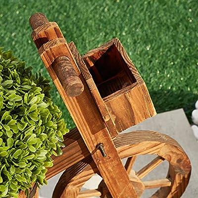 LOKATSE HOME Wooden Barrel Tricycle Planter Wagon Home Garden Outdoor Decor, Brown : Garden & Outdoor