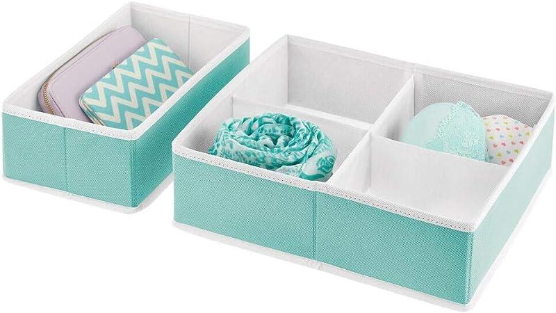 mDesign Juego de 2 Cajas para armarios – Organizador para armarios Plegable y de Tela en Dos tamaños – Cajas para Guardar Ropa, Ropa Interior, Calcetines y más – Turquesa/Blanco: Amazon.es: Hogar