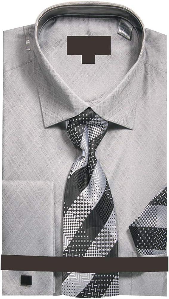 Sunrise Outlet Mens Metallic French Cuff Dress Shirt w Tie Hanky Cufflinks