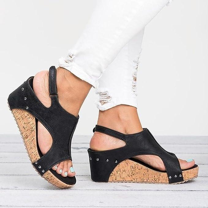 LiucheHD Sandali con Zeppa Estivi Donna Rivetti in Pelle Casuale Retro Caramella Dolce Sandals Shoes Estivi Tacco Basso Peep Toe Scarpe Scarpe Romane