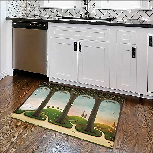Non-slip Thicken Carpet of Four Seasons Winter,Spring,Summer,Autumn Computer Graphics. Easier to Dry for Bathroom W22