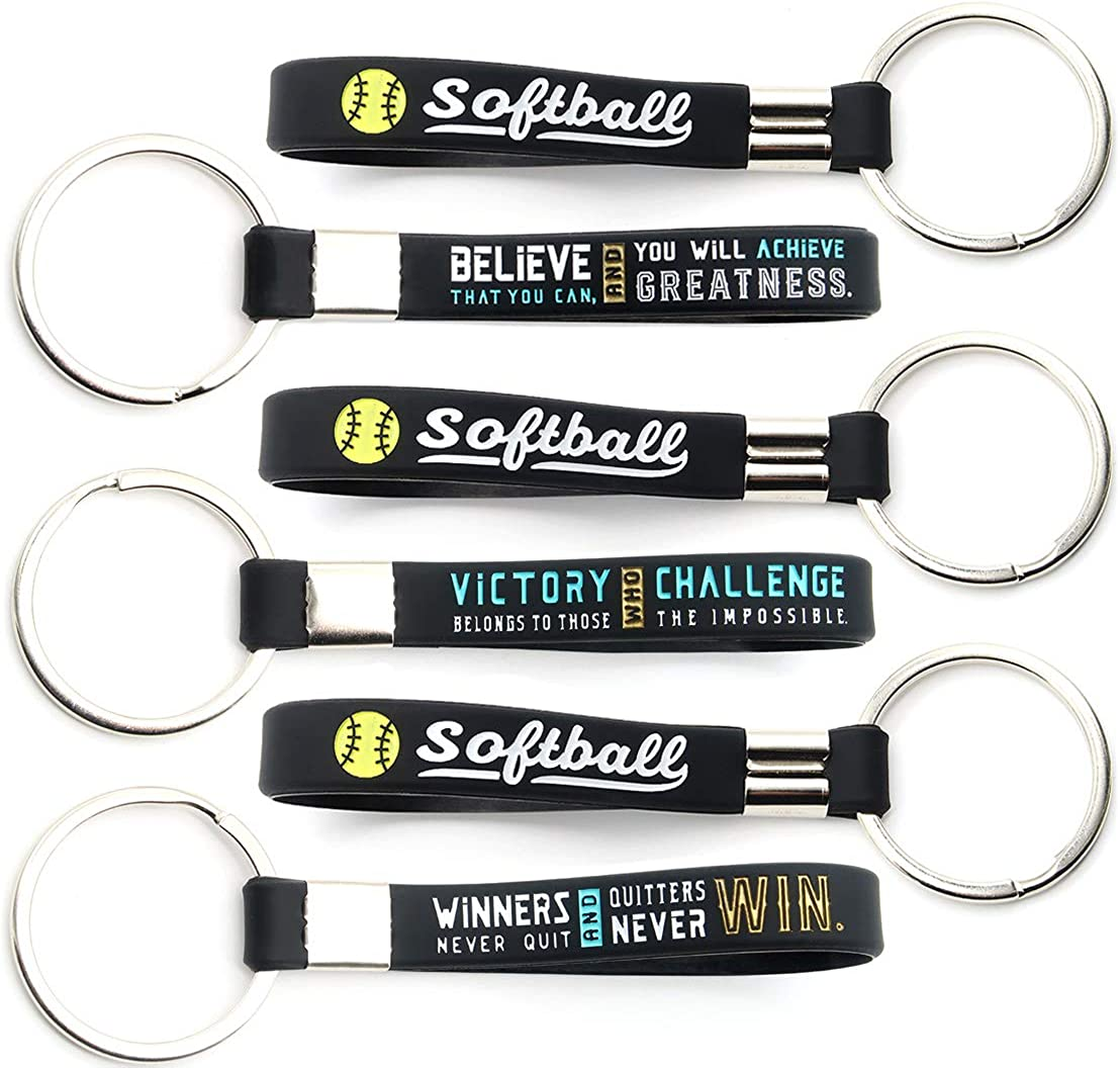 (12-pack) Softball Keychains with Motivational Quotes - Wholesale Pack of Key Chains in Bulk for Giveaway Gifts for Team, Softball Theme Party Favors and Supplies for Boys Girls Men Women: Clothing