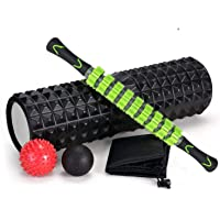 SKY-TOUCH 5 In 1 Fitness Foam Roller Set with Muscle Roller Stick and Massage Balls For Physical Therapy Pain Relief…